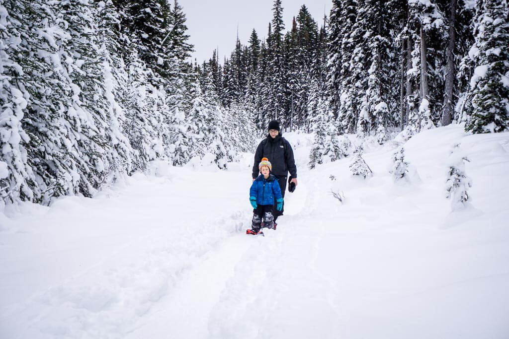 A well defined trail makes it hard to get lost on the Shark Lake snowshoe trail in Kananaskis