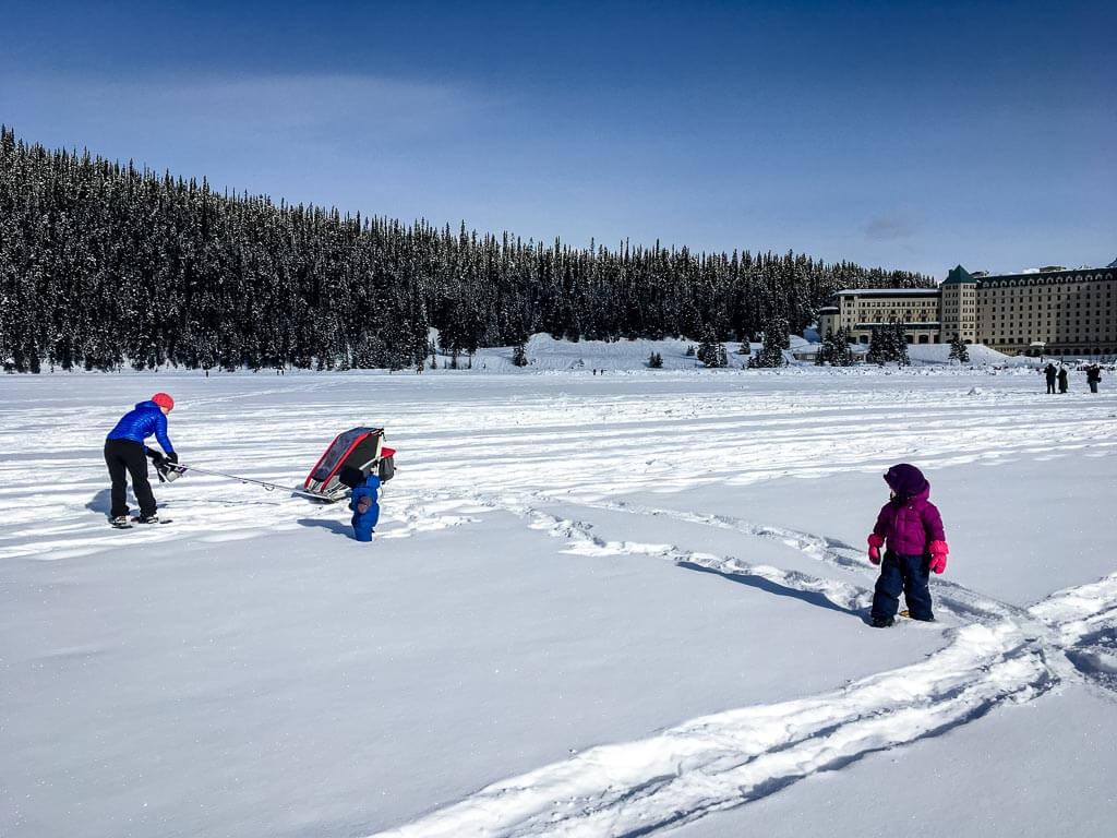 snowshoeing lake louise - lakeshore snowshoe with kids