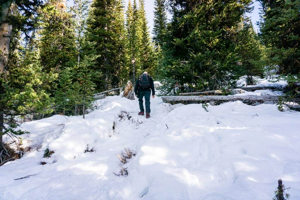 The Chester Lake snowshoe trail is only steep for the first 2km
