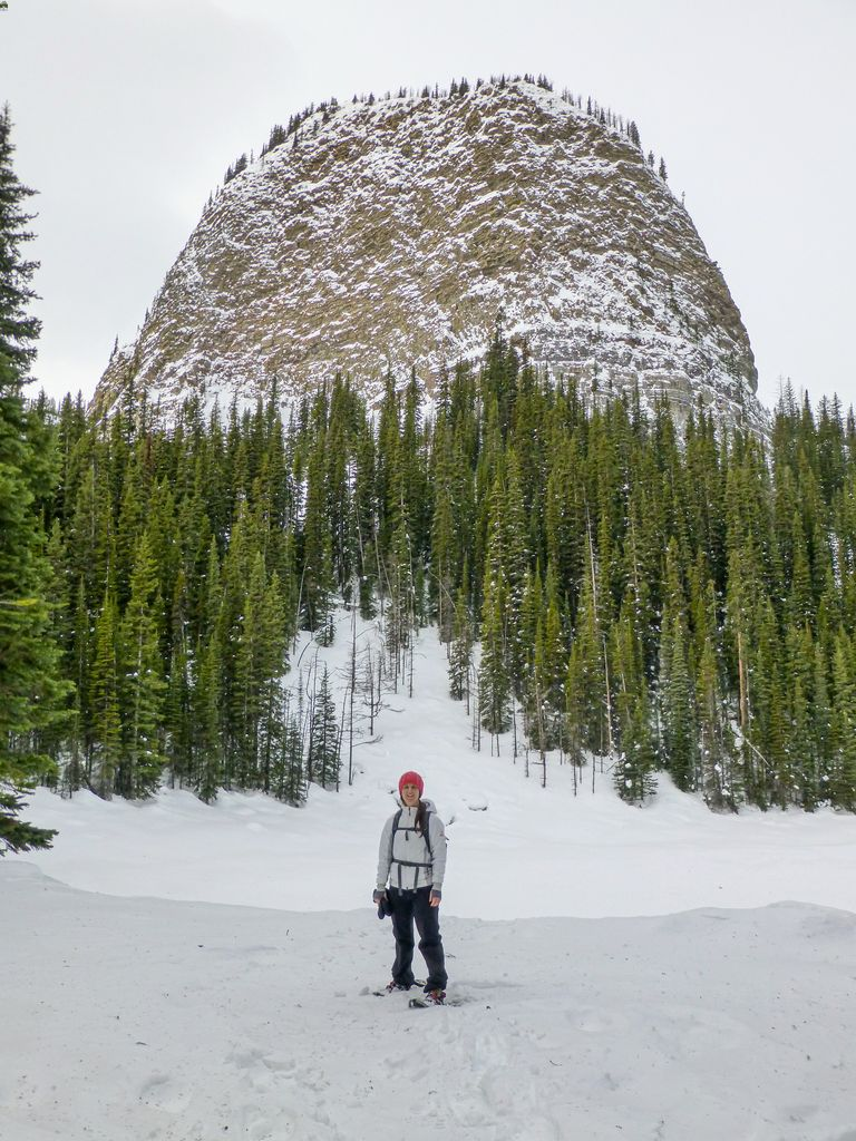 You can't snowshoe to Lake Agnes due to avalanche risk, but the scenery at Mirror Lake in January is amazing