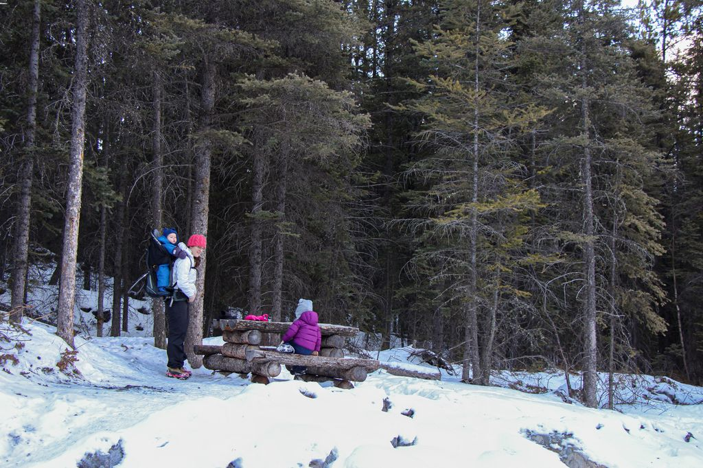 Our favorite winter picnic spot in Canmore is on the kid-friendly Highline Trail