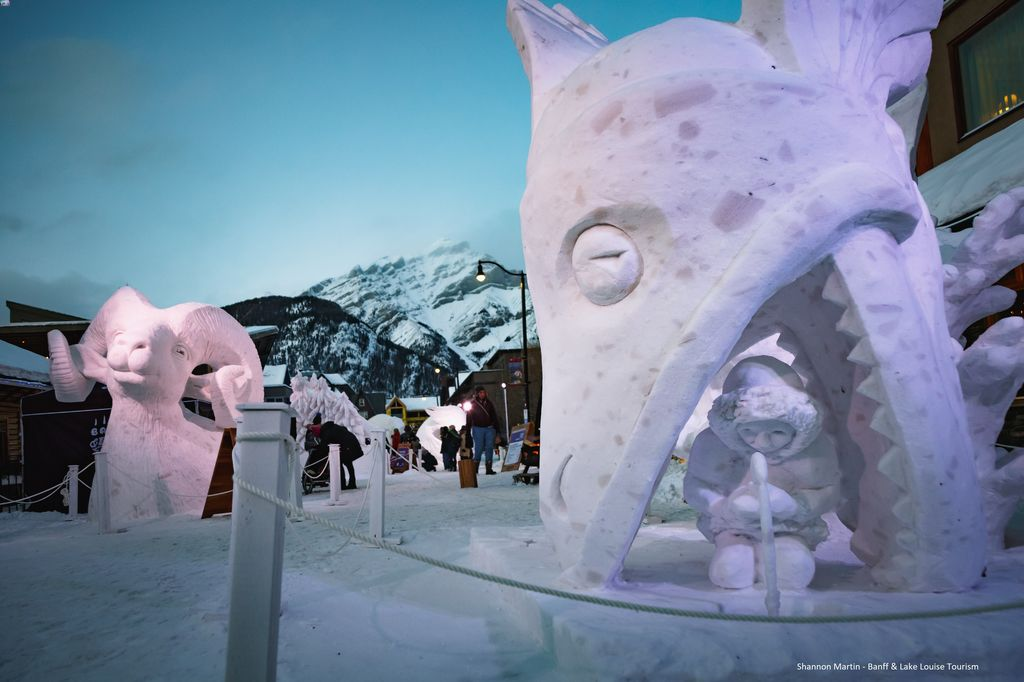 The snow sculptures around the Town of Banff are one of the highlights of Banff's SnowDays festival