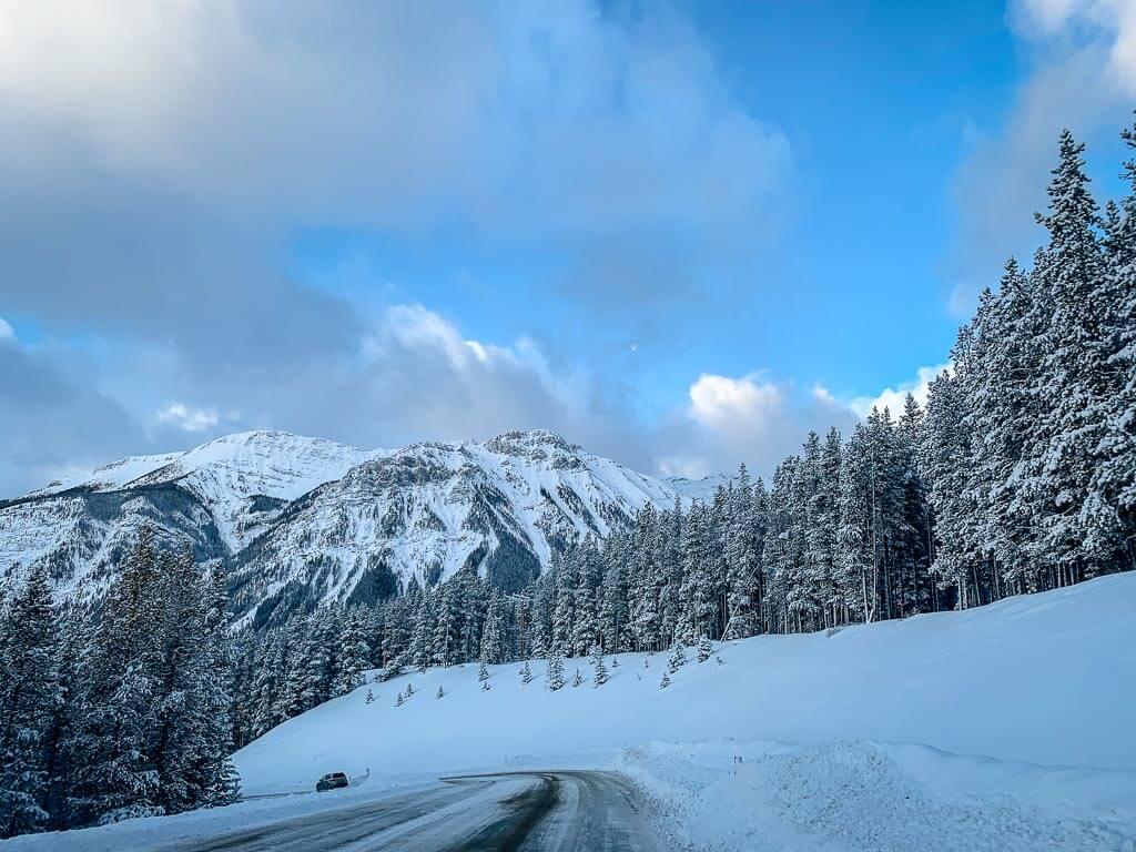 Snowy Kananaskis mountains as seen on the Torpor winter trail in Kananaskis