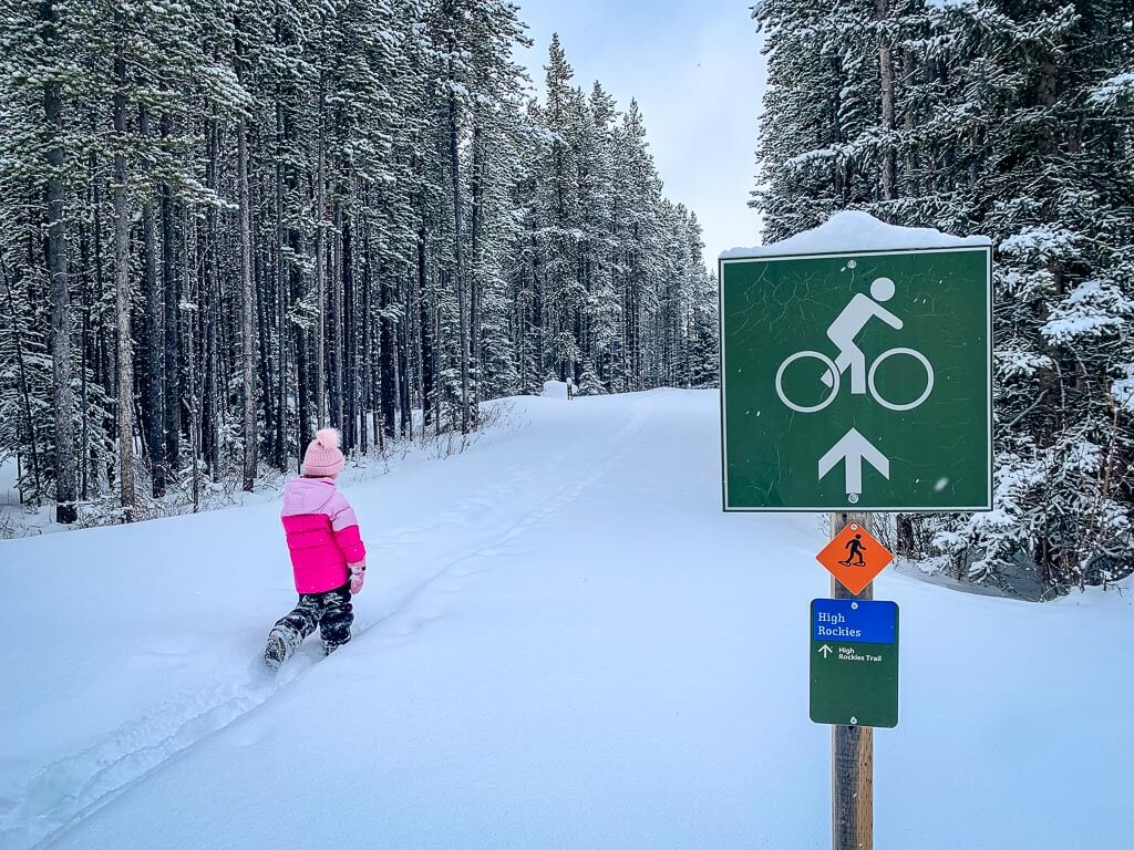 The Torpor snowshoe trail and the High Rockies winter trail overlap through the Lower Lakes Campground in Kananaskis