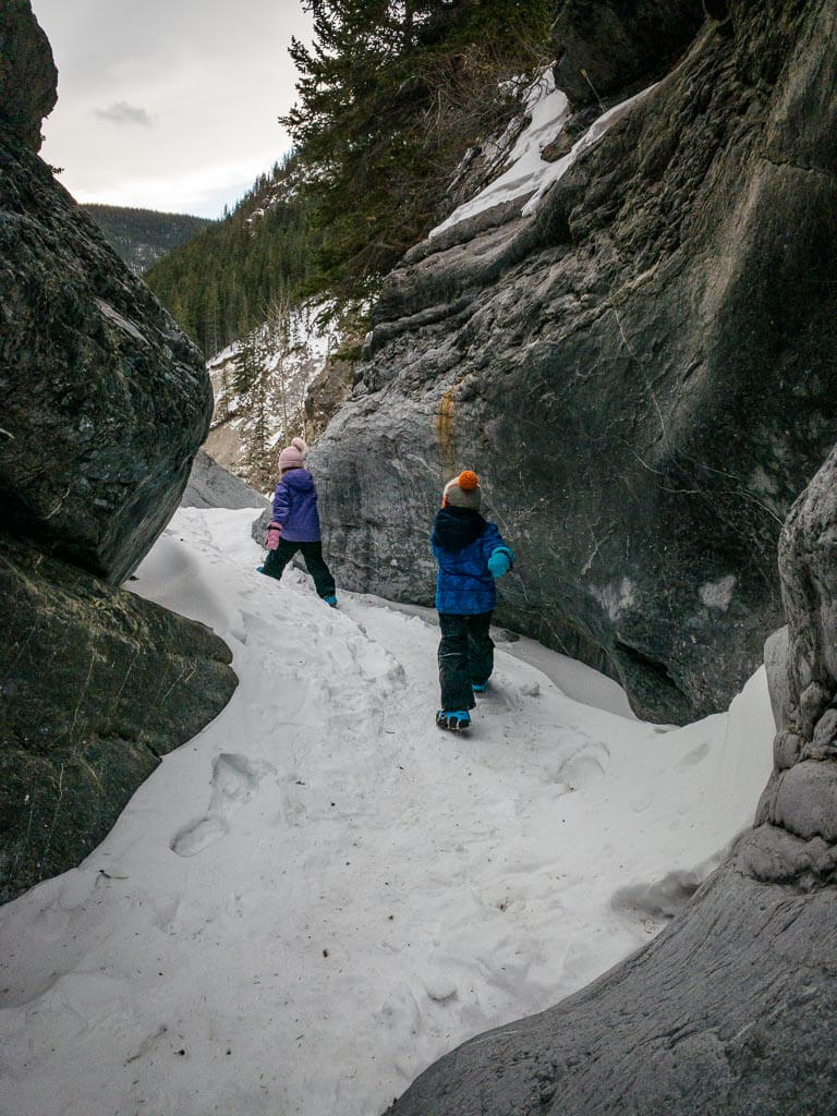 Kananaskis kids activities - winter hiking Jura Creek slot canyons
