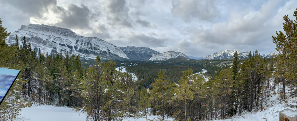 Views of Mount Rundle, Tunnel Mountain (Sleeping Buffalo) and Mt. Norquay from the Banff Hoodoos viewpoint