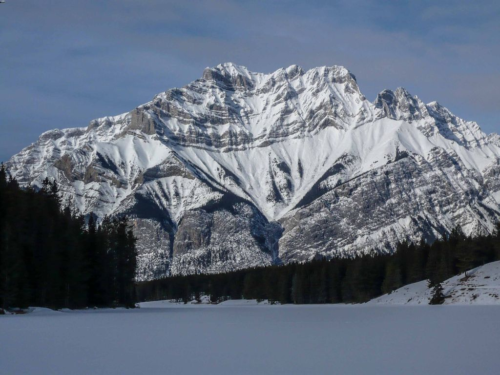 Cascade Mountain in January as seen from Johnson Lake, Banff National Park, Canada
