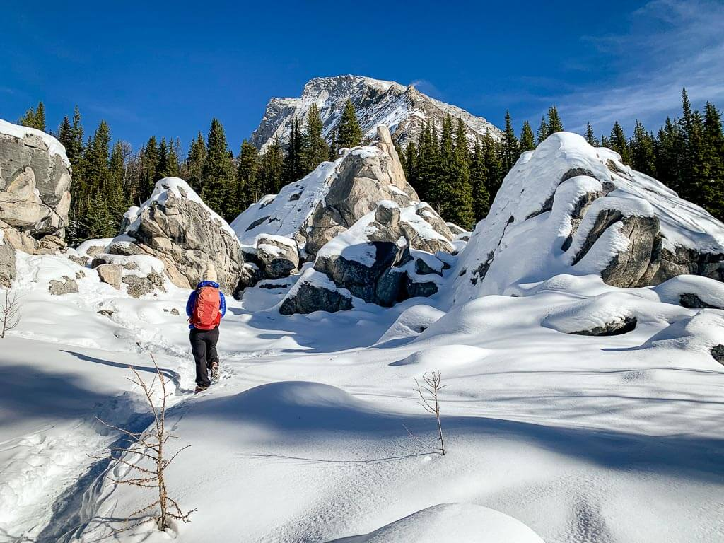 Winter hiking the side trail to the elephant rocks at Chester Lake, Kananaskis