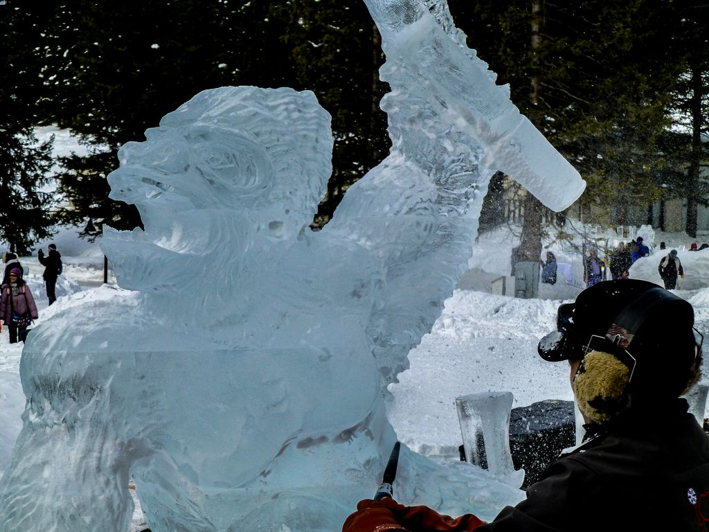 Watch artists create amazing ice sculptures at the Lake Louise Ice Magic competition every January