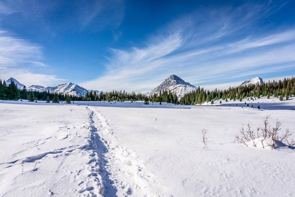 The Chester Lake winter hike snowshoe is 7.4km long (or 8.4 km if you add the Elephant Rocks_