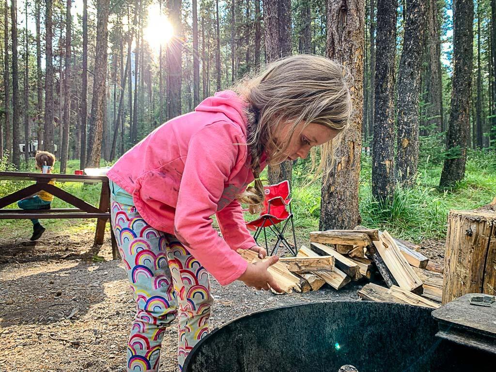 kids in Kananaskis campground