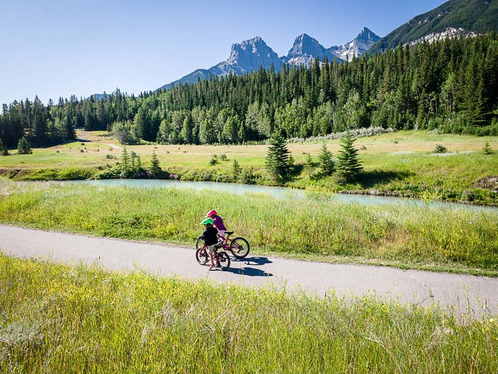 Canmore bike trails with view of Three Sisters