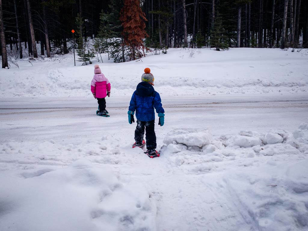 Crossing Campground Road on Frozen Toad Snowshoe