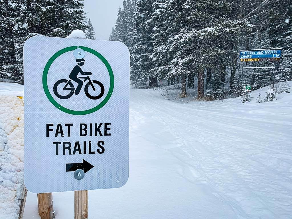 sign for fat bike trails at Norquay