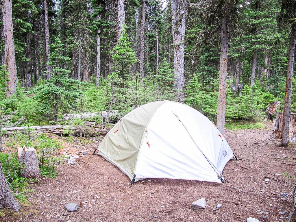 tent camping in Forks backcountry campground Kananaskis