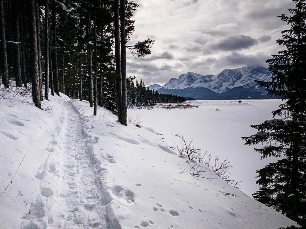Lower Kananaskis Lake snowshoe trail along shores of the Lake