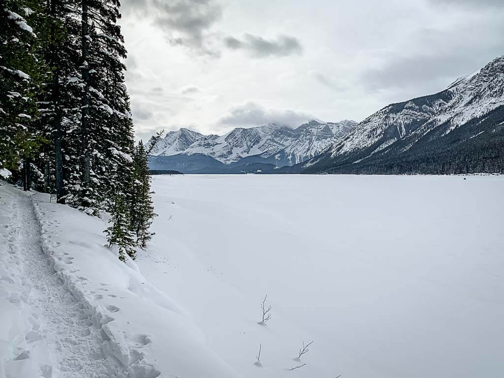 winter hike on Lower Kananaskis Lake