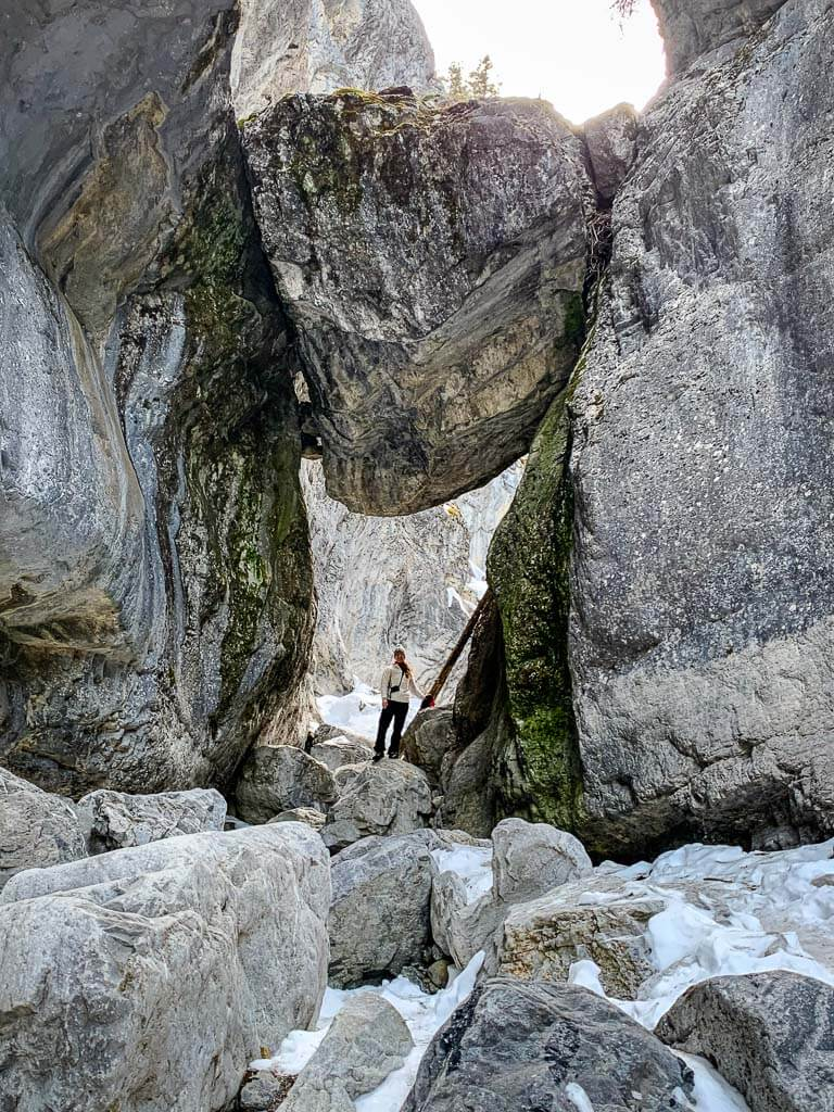 The McGillivray Canyon chockstone is a massive boulder wedged in-between the canyon walls