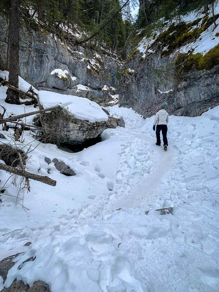 The hike to the McGillivray Canyon chockstone is not very steep, aside from the obstacles