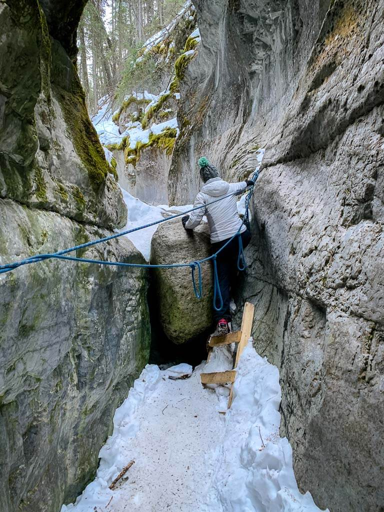 Hikers encounter ladders and ropes along the McGillivray Canyon Trail