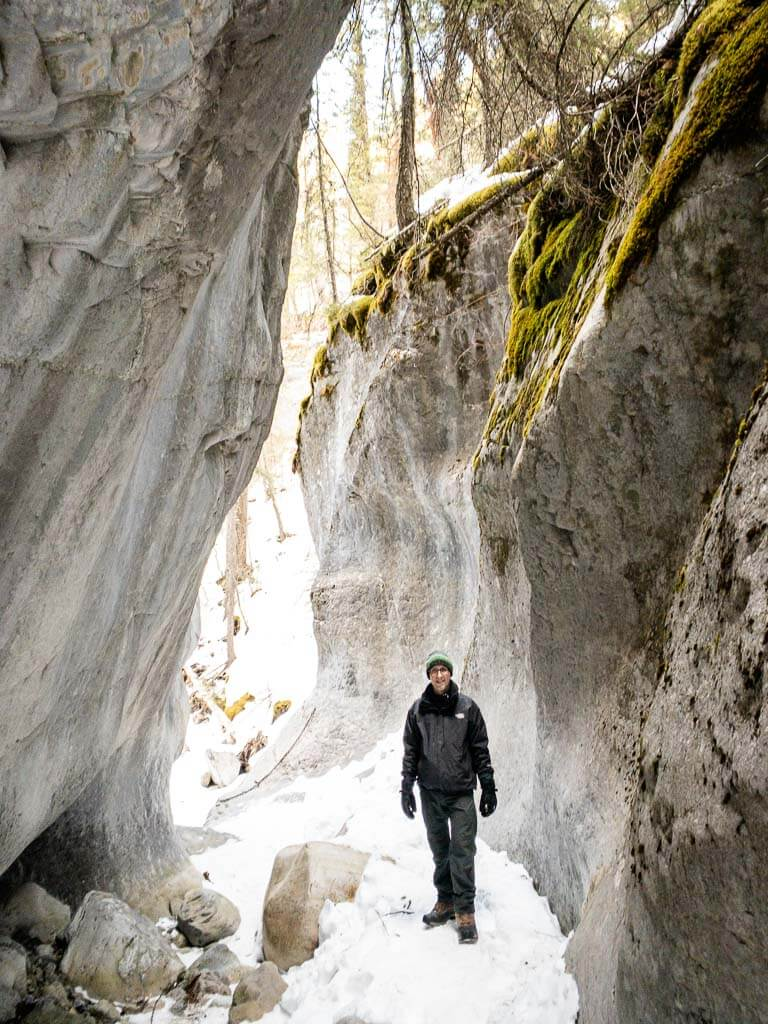 Winter hiking slot canyon in Kananaskis