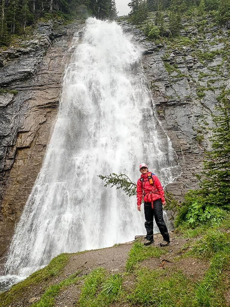 Ribbon Falls next to Ribbon Falls backcountry campground in Kananaskis