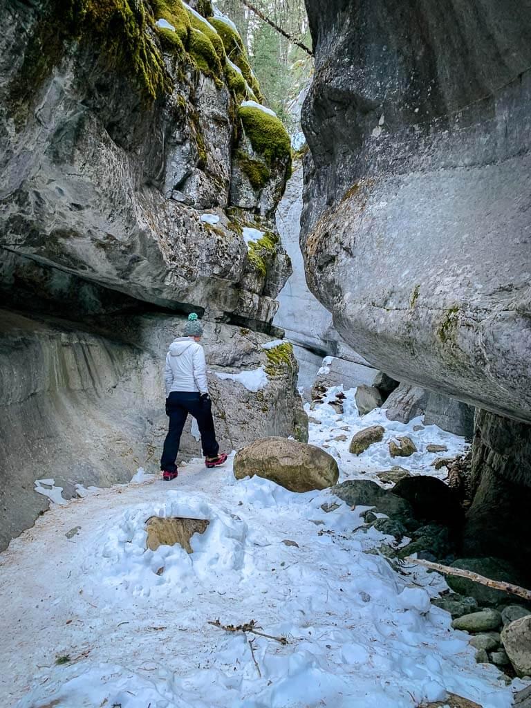 Hiking the Kananaskis McGillivray Creek slot canyon in winter