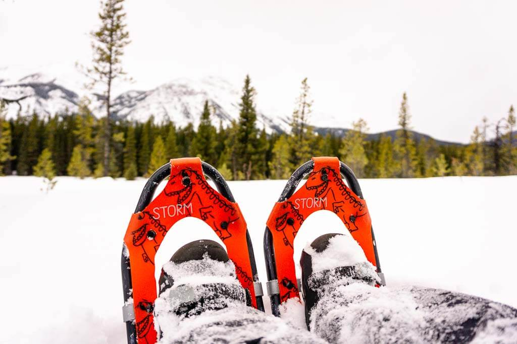 Tubbs Storm Snowshoes for Kids with mountain backdrop