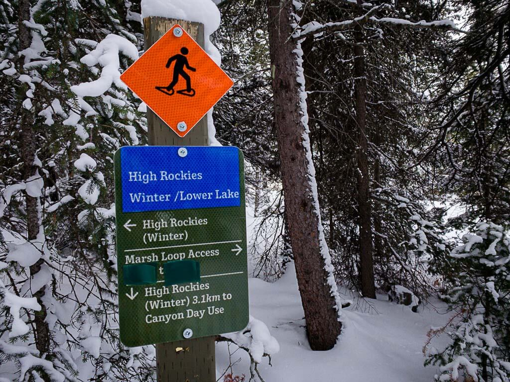 snowshoe trail marker for High Rockies winter trail and Marsh Loop