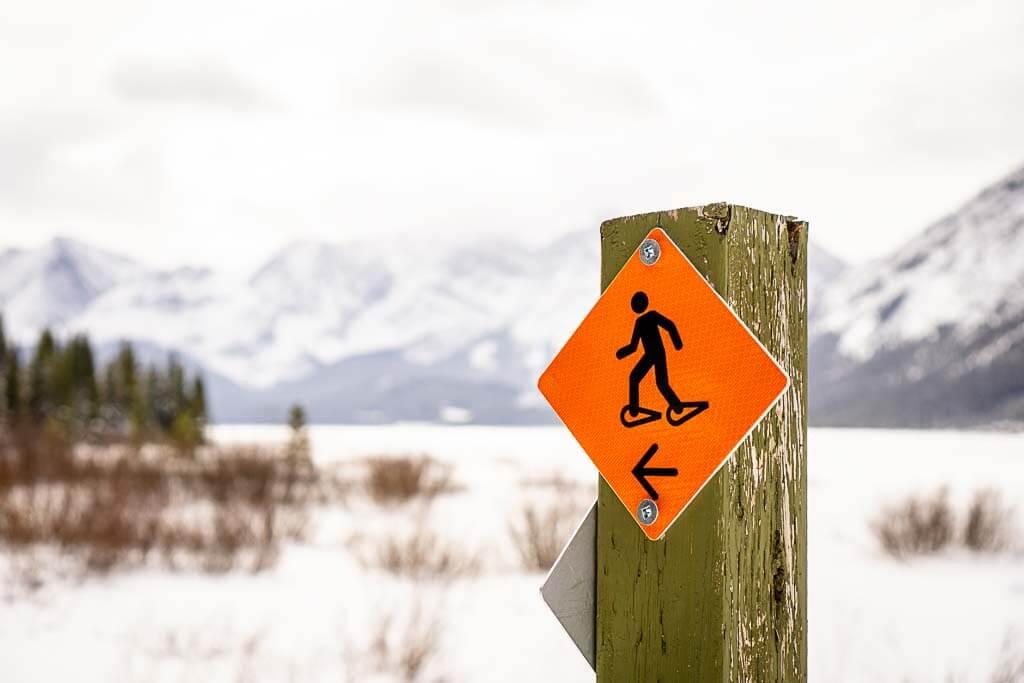 snowshoe trail marker to Marsh Loop in Kananaskis