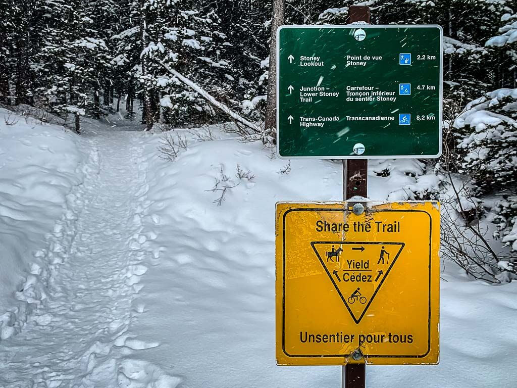 Trailhead signs for Upper Stoney Loop Banff Snowshoe