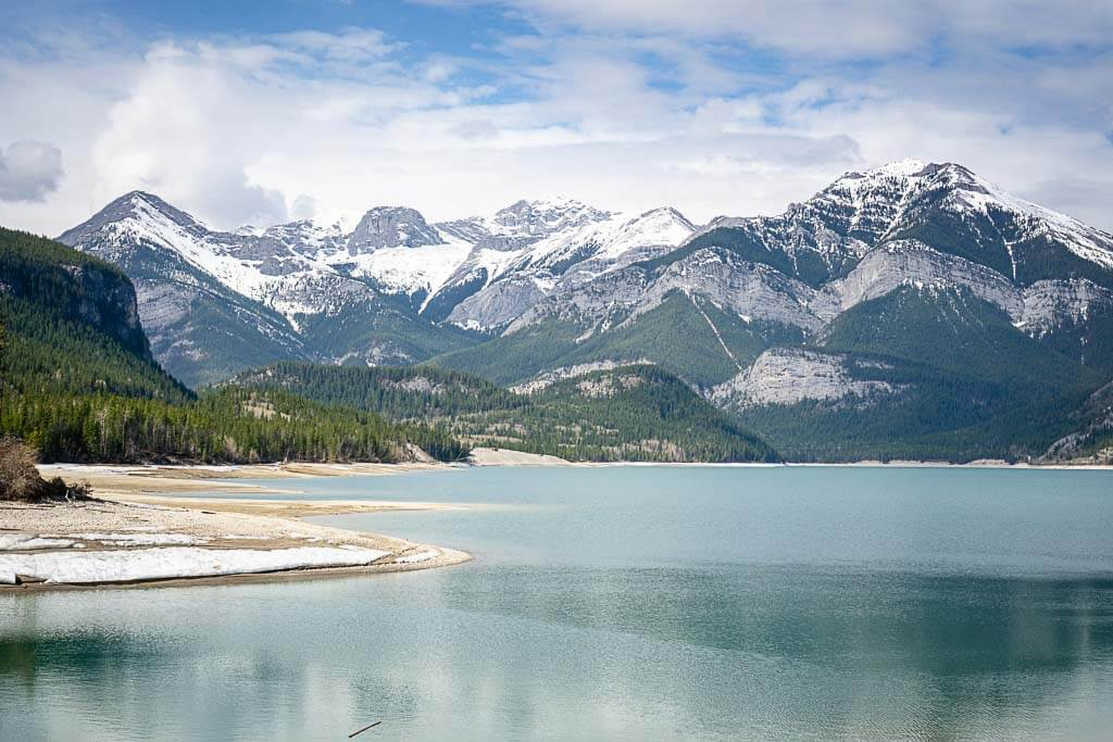 view of Barrier Lake from Jewell Bay Kananaskis equestrian campground