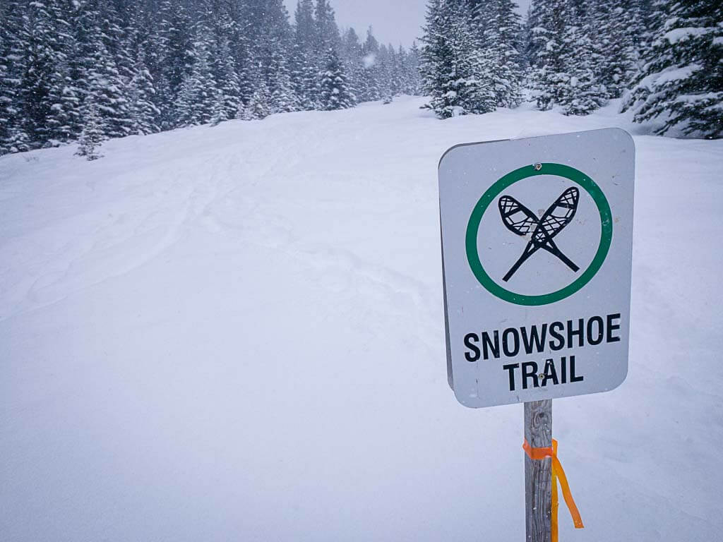 Norquay Snowshoe Trail sign