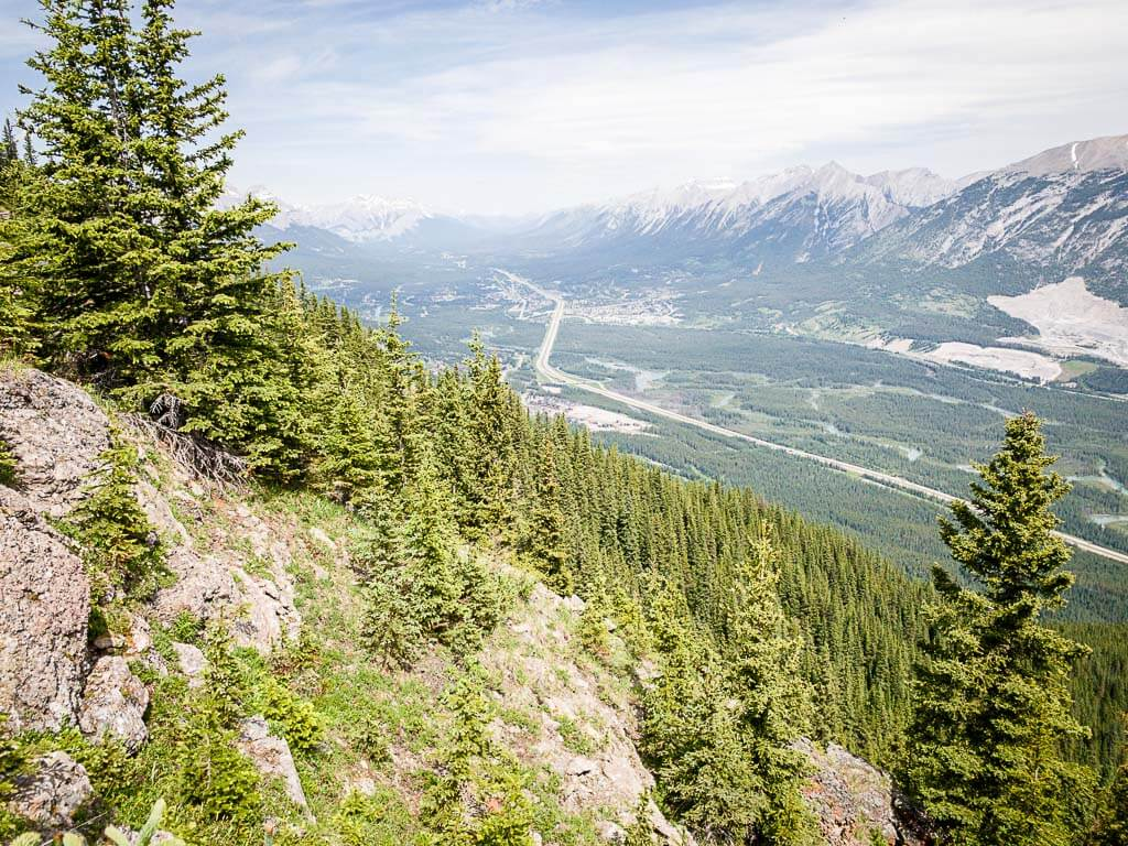 view of Canmore from Wind Ridge hike