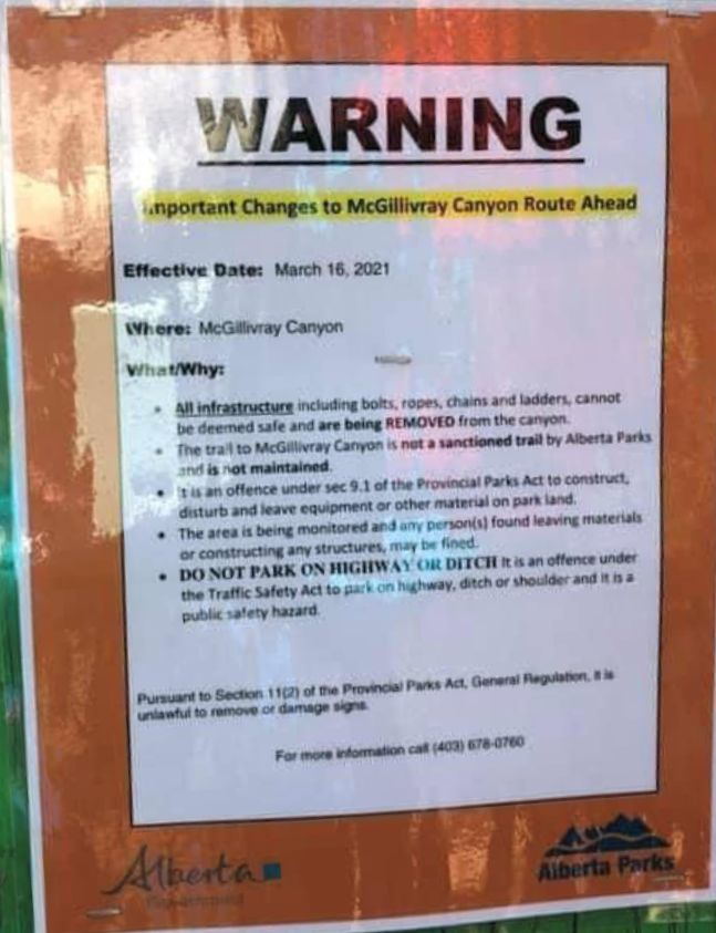 McGillivray Canyon Warning Sign posted by Alberta Parks March 16, 2021