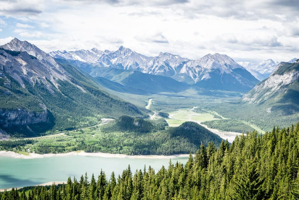 View of Rocky Mountains in the Kananaskis Valley as seen from the Yates Mountain Trail