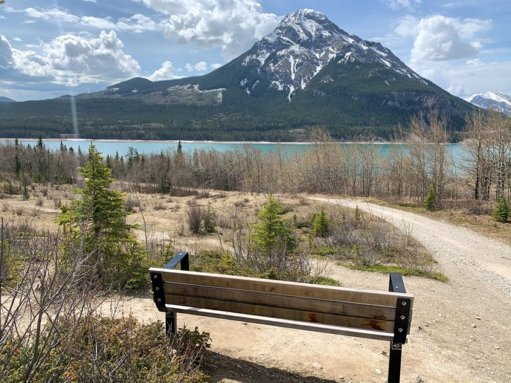 Enjoy views of Barrier Lake and Mount Baldy from this bench on the Yates Mountain hiking trail (also on the Prairie View Trail and the Great Trail)
