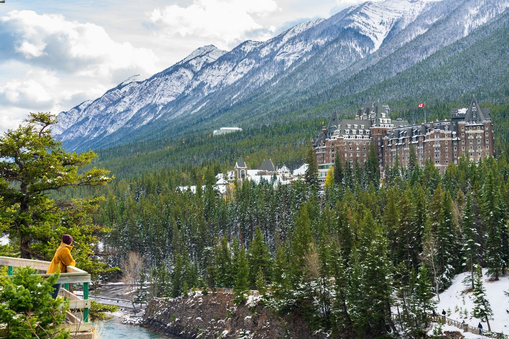Cheap things to do in Banff - walk to Surprise Corner for this view of Bow Falls and the Banff Springs Hotel