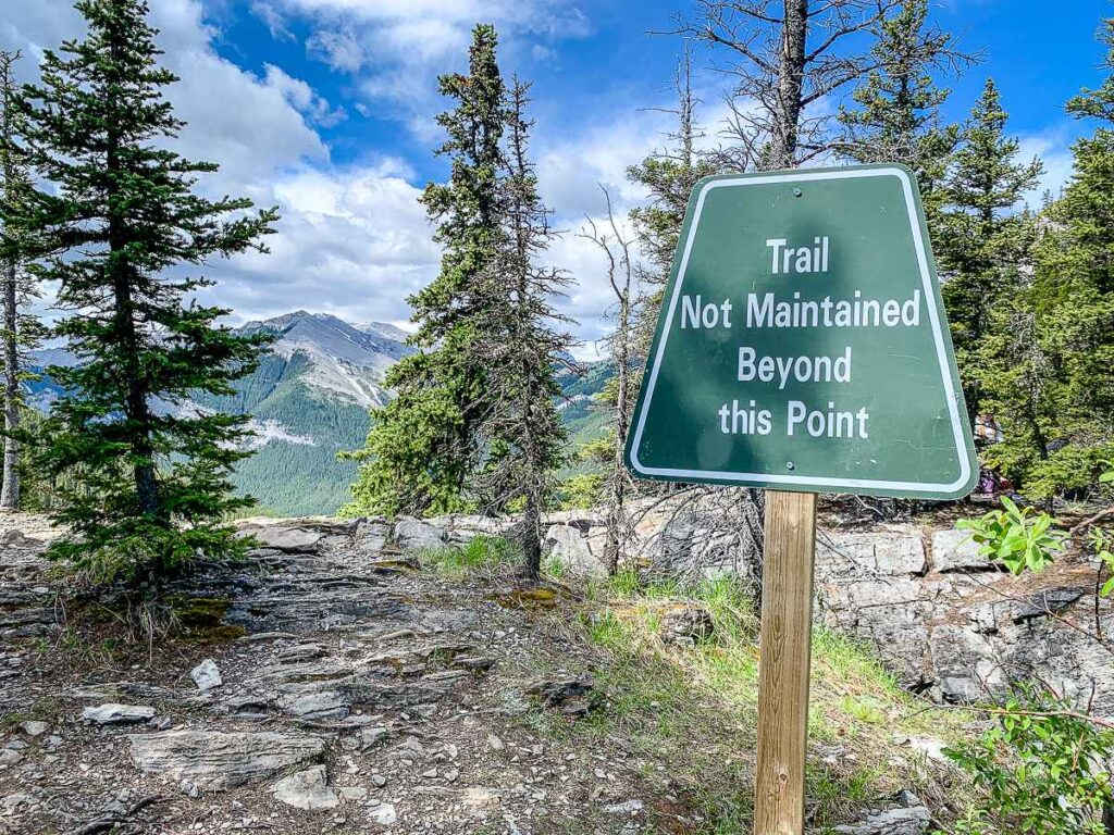 At the top of the Yates Mountain Kananaskis hike, the trail to the Barrier Lake fire lookout is not maintained