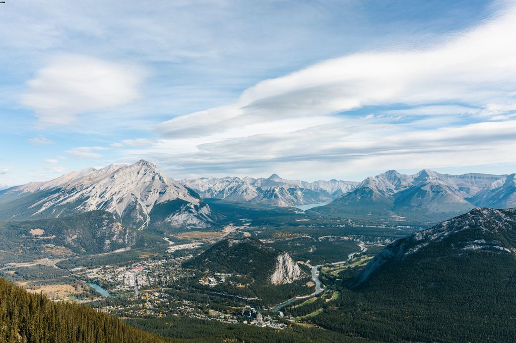 The view from the top of Sulphur Mountain - home of the two 5-star hotels in Banff - the Fairmont Banff Springs Hotel and the Rimrock Hotel