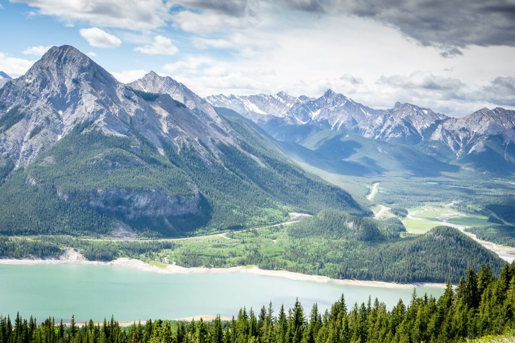 Barrier Lake and Mount Baldy as seen from the Yates Mountain hiking trail in Kananaskis, Alberta
