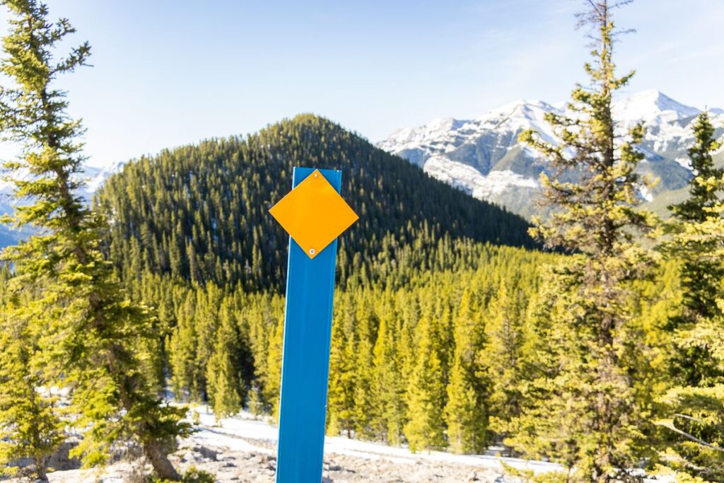 Near the summit of Yates Mountain in Kananaskis, look for trail markers leading the way to Jewel Pass trail