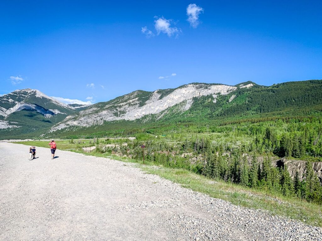 The first section of the Yates Mountain Trail (Prairie View Trail) is flat and easy along the shores of Barrier Lake, Kananaskis Country, Alberta
