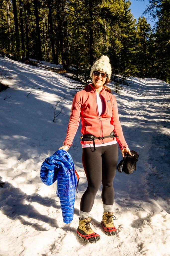 Dress in layers while hiking in Kananaskis in Spring - Yates Mountain Trail in March