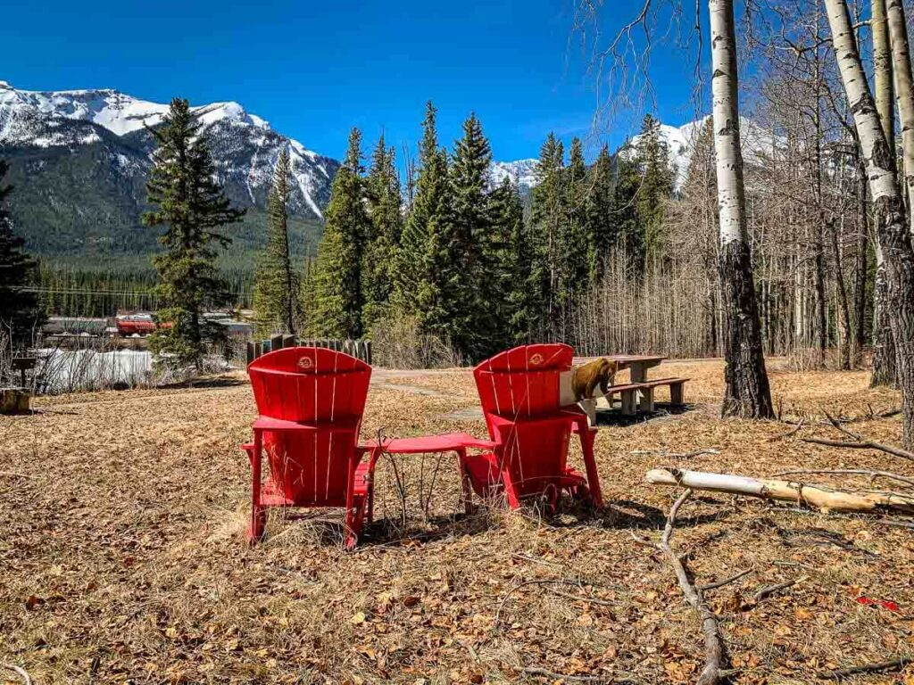 Red Chairs in Banff at Muleshoe Picnic Area