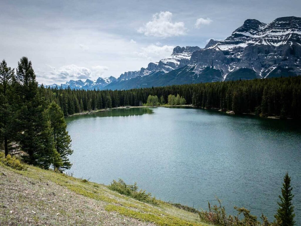 Enjoy views of Mt. Rundle all the way to the Three Sisters from the Johnson Lake Trail in Banff National Park