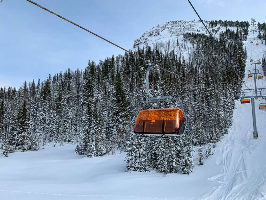 the Tee Pee Town Chairlift at Banff Sunshine Village is Canada's only heated ski chairlift