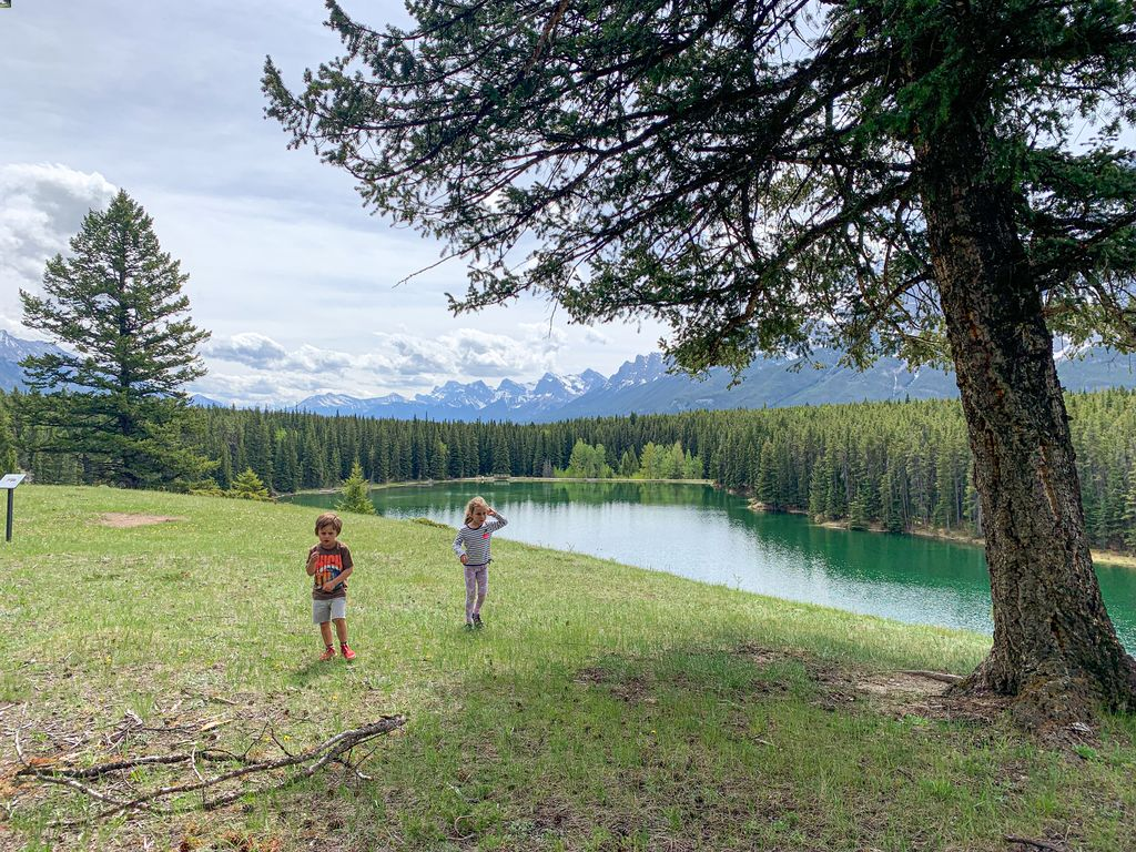 The kid-friendly hike around Johnson Lake is one of our favorites. Park for free at Johnson Lake