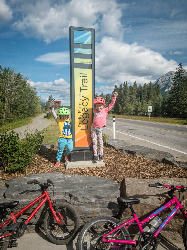 Canmore to Banff biking Legacy Trail with kids