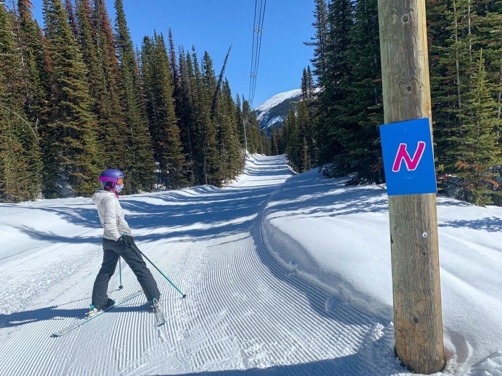 The Powerline green run at Banff Sunshine Village Ski Resort